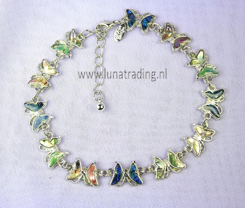 Enkelbandje vlinder ( 3stuks ) Parelmoer en abalone shell