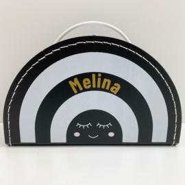 Koffertje met naam | Regenboog zwart wit