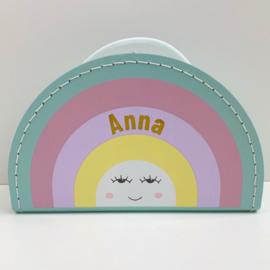 Koffertje met naam | Regenboog pastel