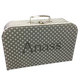 Koffertje met naam | Zilver 25 cm