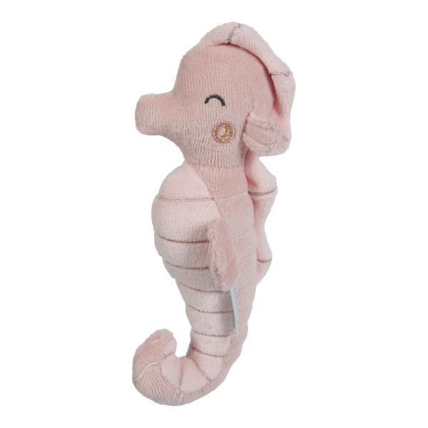 Pluche rammelaar  zeepaardje roze | Little Dutch