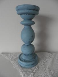 Grote blauwe houten kaarskandelaar VERKOCHT