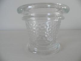 2 Glazen waxinehouders met stippenmotief in het midden