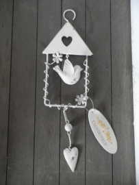 Huisjes hanger met vogeltje en hartje VERKOCHT