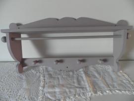 Paars/grijs houten kapstokje VERKOCHT