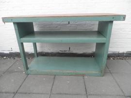 Oud houten fabriekskastje met 2 vakken VERKOCHT