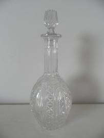 Bewerkt glazen flesje met dop VERKOCHT