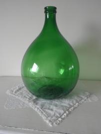 Grote groene glazen bolle flesvaas VERKOCHT