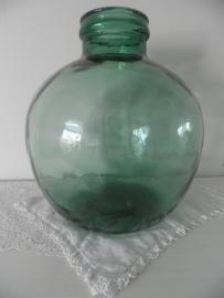 Grote groene bolle flesvaas met grote hals VERKOCHT