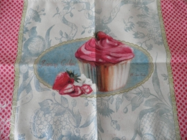 4 Stoffen placemats met roze cupcake motief