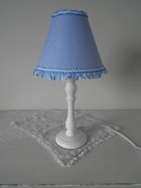 Blauw met witte ruitjes lampenkapje met ruches