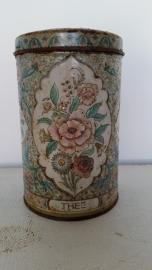 Mooi oud verweerd theeblik met bloemen VERKOCHT