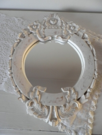 Rond houten spiegel met uitgesneden bloemen VERKOCHT