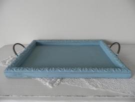 Groot blauw houten dienblad met handvatten