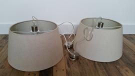 2 Ecru kleurige lampenkappen