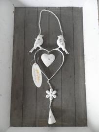 Hartje hanger met vogels en belletje