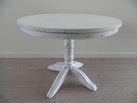 Wit rond houten tafeltje met mooie poot VERKOCHT
