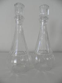 2 Glazen flesjes met dop VERKOCHT