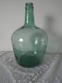 Groene kleine glazen flesvaas met smalle hals VERKOCHT