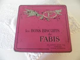 Brocant roze frans koekjesblik VERKOCHT