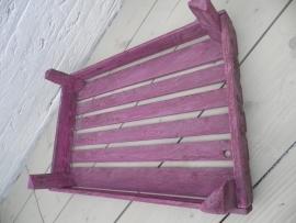 Grote roze houten krat/dienblad