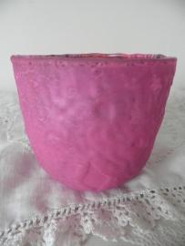 Roze glazen theelicht (klein)