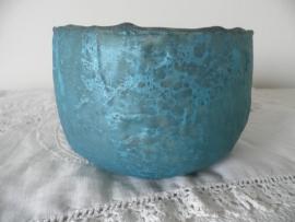 Turquoise glazen theelicht (groot),