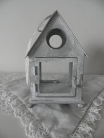 Grijs huisje voor waxinehouder met glas
