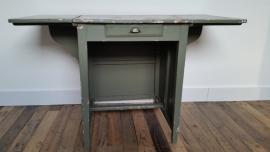 Groen uitklapbaar houten bureau/werktafel met lade