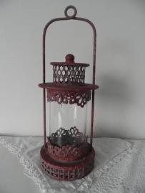 Rood ijzeren windlicht met glas en hengel VERKOCHT