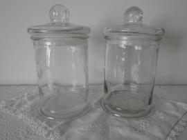 Glazen voorraadpotten met deksel VERKOCHT