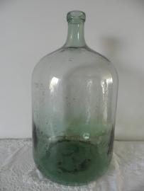 Grote groene flesvaas met smalle hals VERKOCHT