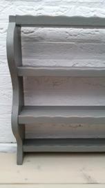 Grijs houten wandrek met 3 verdiepingen VERKOCHT