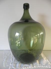 Grote groene bolle flesvaas VERKOCHT