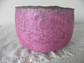 Roze glazen theelicht (groot),