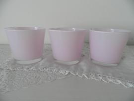 3 Licht roze glazen waxinehouders