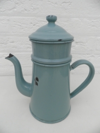 Groene emaille thee/koffiepot