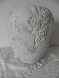 Stenen bloempot met bloem motief (groot), VERKOCHT