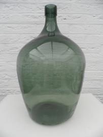 Grote donker groene flesvaas met smalle hals VERKOCHT