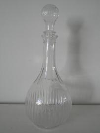 Glazen fles met ribbels en dop VERKOCHT