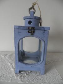 Blauw houten windlicht (klein) VERKOCHT