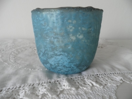 Turquoise glazen theelicht (klein)