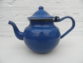 Blauw emaille theepotje VERKOCHT