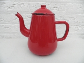 Rood emaille theepotje VERKOCHT