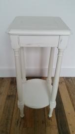 Wit hoog vierkant tafeltje met 2 verdiepingen VERKOCHT