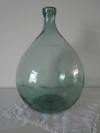 Grote groene bolle flesvaas met smalle hals VERKOCHT