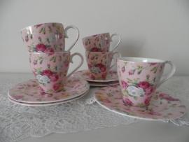 Set van 5 roze kop en schotels met bloemen VERKOCHT