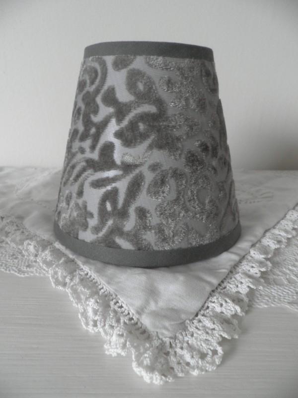 Klein bruin/grijs lampenkapje met motief