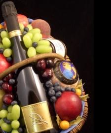 Fruitmand: Champagne & Bonbons