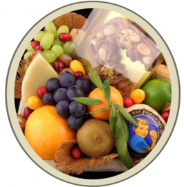 Fruit in a box met chocoladeletter